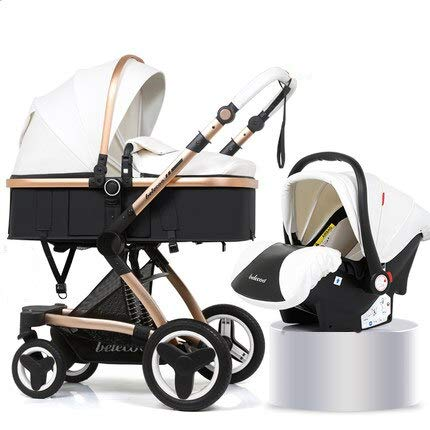 Luxury Baby Stroller Toddler Carriage with PU Basket High-Landscape Easy Carry Pram for Newborns Pushchair Can Sit Can Lie (White)