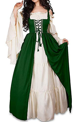 WENROU Womens Renaissance Medieval Irish Costume Over Dress and Cream Chemise Set (2XL, Green) -