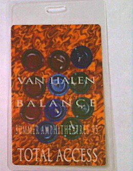 Backstage Pass Van - 1993 Balance Van Halen Laminated Backstage Pass Total Access