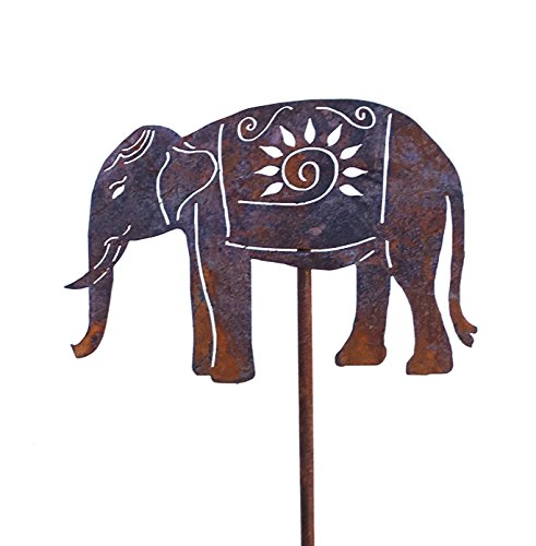 Free Shipping! Elephant Metal Garden Stakes Home and Garden Art Décor Decorative Sculptures Home Decor (Elephant Art Metal)