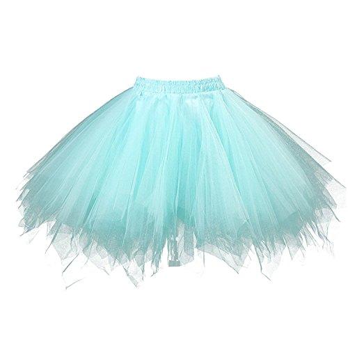 BIFINI Adult Women 80's Plus Size Tutu Skirt Layered Tulle Petticoat Halloween Tutu Mint -