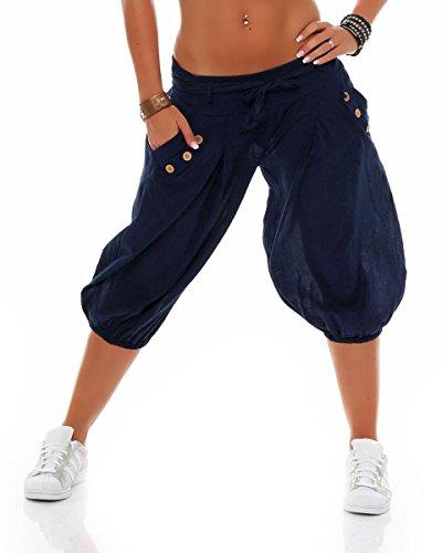 Cintura Scuro Aladin con Donna Pantaloni Unica Blu Boyfriend Pantaloni Taglia Sbuffo 3416 Baggy breve Pump malito Yoga qwaIYT