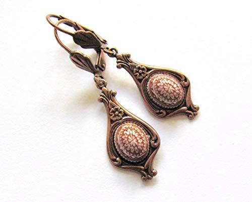 - Art Nouveau Copper Earrings Boho Fancy Cabochons Antiqued Copper Finish Victorian Style