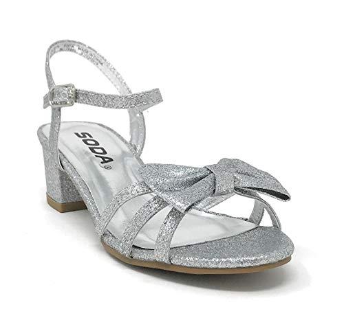 - SODA JDGale Children's Girl's Open Toe Slingback Block High Heel Sandals (4 M US Big Kid, Silver G