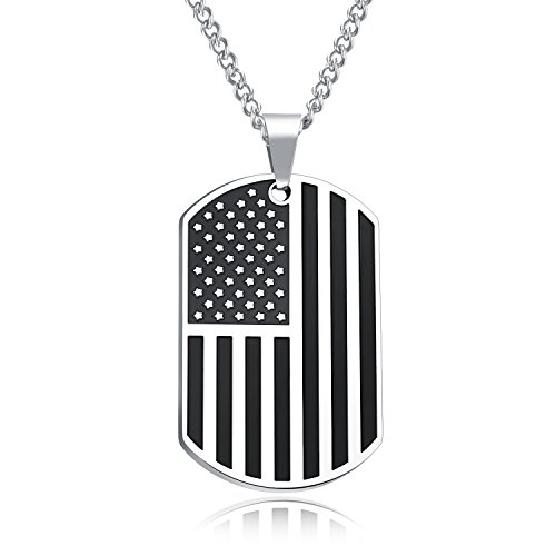 TENGYI 18K Gold Plated/Stainless Steel American Flag Dog Tag Necklace with 24