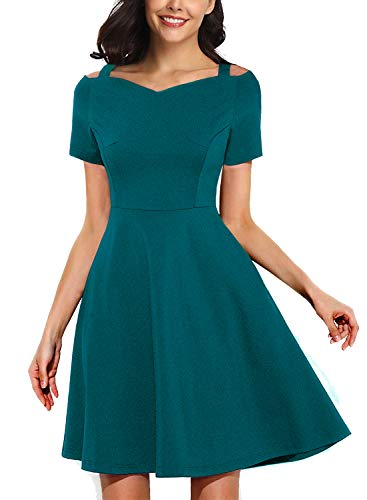 Summer Cocktail Dress for Women's Sweetheart Neckline Turquoise Prom Short Pretty Guide 1920s Dance Sexy Skater Dresses Party Night 268 (L, Acid Blue)