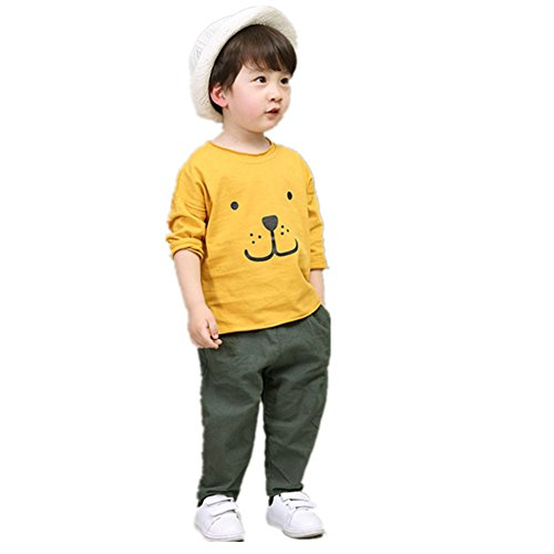 FTSUCQ Girls/Boys Cartoon Printed Tracksuits Sport Shirt Top + Pants,Yellow - Rock In Little Centers Shopping