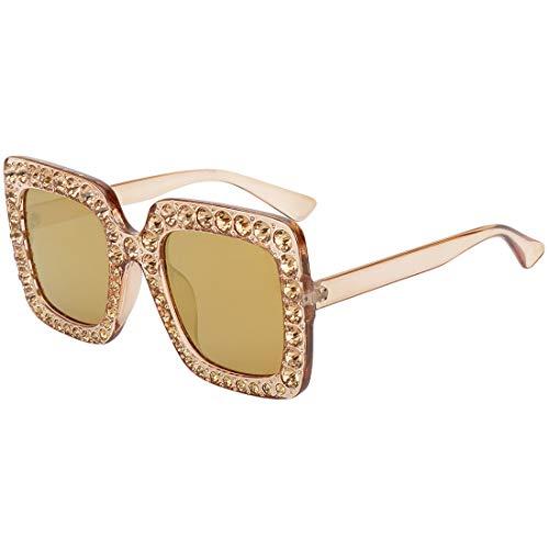 (ROYAL GIRL Sunglasses For Women Oversized Square Luxury Crystal Frame Brand Designer Fashion Glasses Yellow Gold Lens)