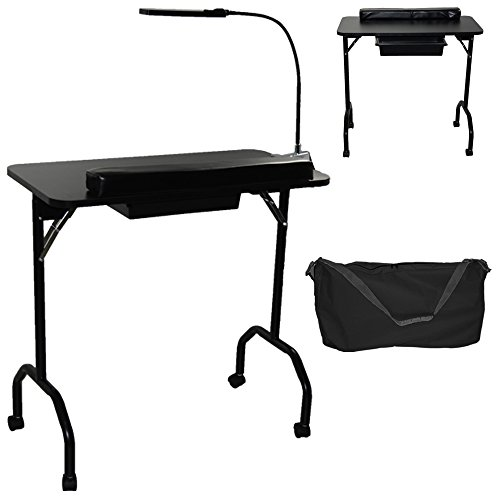 LCL Beauty Portable Folding 1-Drawer Manicure Table with Client Wrist Pad, LED Lamp and Free Carrying Case Salon Spa Beauty Equipment