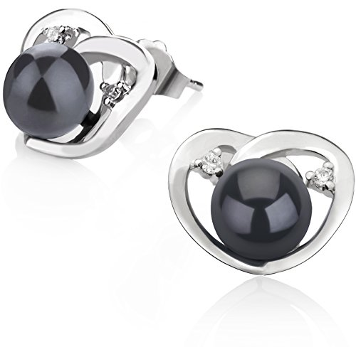 Black Pearl Heart - Katie Heart Black 7-8mm AA Quality Freshwater 925 Sterling Silver Cultured Pearl Earring Pair