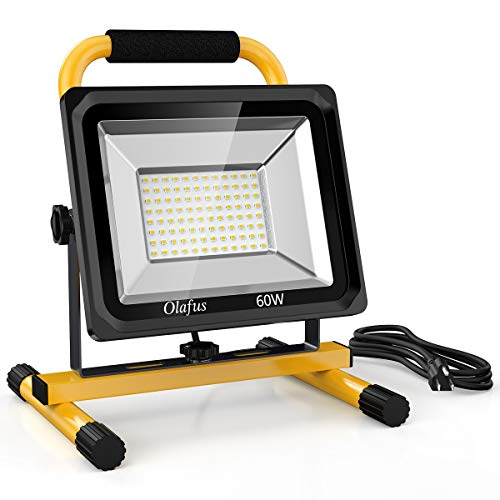 Olafus 60W LED Work Lights (400W Equivalent), 6000LM, 2 Brightness Modes, IP65 Waterproof Job Site Lighting with Stand for Construction Site, Jetty, Workshop, Garage 5000K Daylight White (Best Led Work Light)