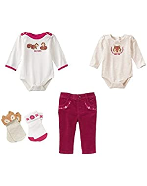 Baby Girl Squirrel Bundle- 2 Bodysuits, Pants & Socks
