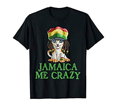 Jamaican Me Crazy Flag Cat T shirt Hair Funny Reggae Gift