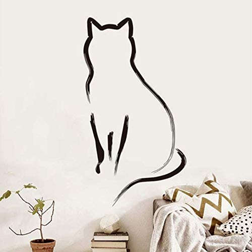 pbldb Cat Wall Stickers for Kids Rooms Decoration Simple Line Art Kitchen Removable Decals Bedroom Stickers Home Decor32X59 -