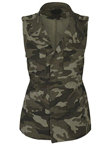 KOGMO Womens Military Camo Anorak Safari Utility Vest-L-OLIVE_CAMO (Camouflage Vest)