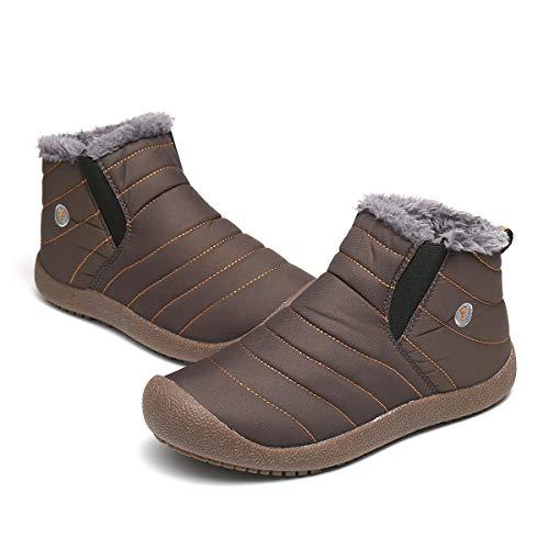 Camfosy Men's Winter Snow Boots Outdoor Warm Fur Lined Slip
