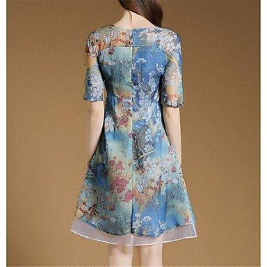 PU&PU Robe Aux femmes Ample Vintage,Fleur Col Arrondi Au dessus du genou Nylon , blue , m