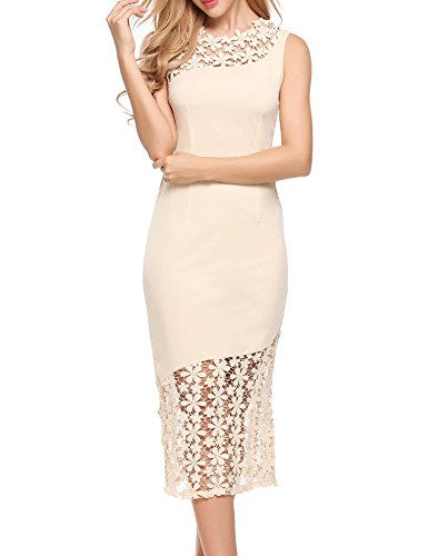 Beige Womens Dress - ANGVNS Womens Floral Lace Bridal Shower Bridesmaid Dress For Women Beige XLarge