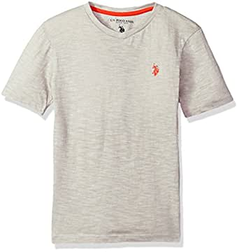 U.S. Polo Assn. Boys' Toddler Short Sleeve T-Shirt, Solid Marbled v Neck Marled Light Grey, 2T