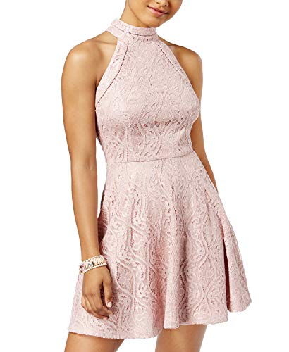 B Darlin Juniors' Mock-Neck A-Line Dress (Rose, 11/12) for sale  Delivered anywhere in USA