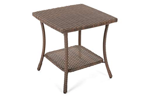 - W Unlimited SW1616-ET Leisure Collection Outdoor Garden Patio Furniture End Table, Dark Brown