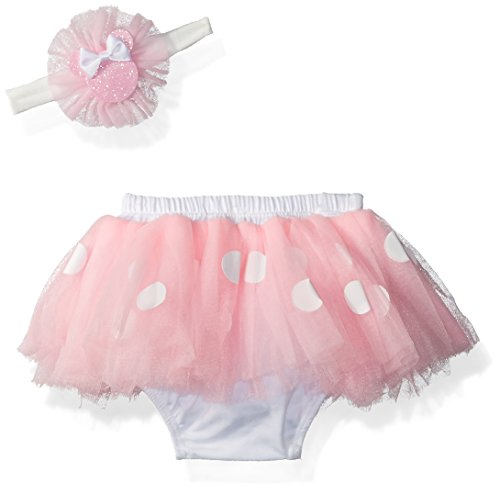 Disney Baby Minnie Mouse Dress Up Headwrap and Tutu Set, pink, white, 0-12M