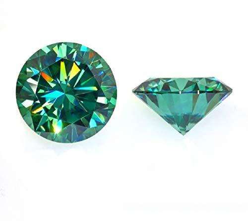 JEWELERYIUM 1.50CT Real Green Color Moissanite Diamond, VVS1 Clarity Moissanite Stone Round Cut Brilliant Gemstone for Jewelry Making, Ring, Earrings, Necklaces, Watches from JEWELERYIUM