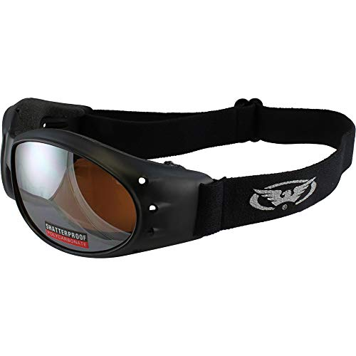 Red Baron Motorcycle/Aviator Goggles Black Padded Frame w/Driving Mirrored -
