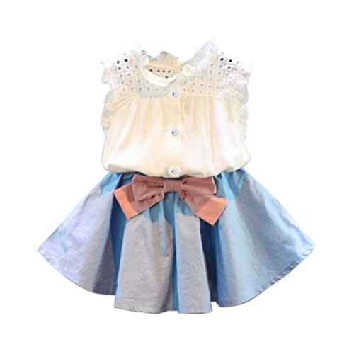 FEITONG Girls Vest T-shirt+Bowknot Short Skirt Set Clothes Children Skirt Suit (4-5 Years, Blue)]()