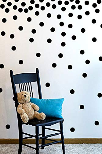 The Open Canvas Wall Decal Dots (200 Decals) | Easy to Peel Easy to Stick + Safe on Painted Walls | Removable Vinyl Polka Dot Decor | Round Sticker Large Paper Sheet Set for Nursery Room (Black)
