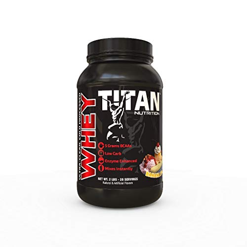 (TITAN WHEY Premium Whey Protein Powder for Improved Muscle Recovery with 23 grams of Clean Whey Protein |BCAA and Digestive Enzymes| (Banana Split, 2 lb))