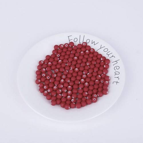 Maslin Wholesale New Rubber Glass Beads 8mm Candy Color Neon Matte Beads Handmade Making DIY 50pcs - (Color: Red)