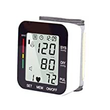Electronic Wrist Blood Pressure Monitor Sphygmomanometer Pulse Rate Monitoring Home Using Large LED Display Voice Broadcast Black