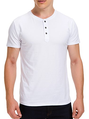 Boisouey Men's Casual Slim Fit Short Sleeve Henley T-Shirts Cotton Shirts White M