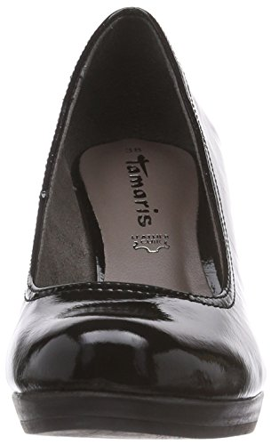 Chaussures Black Noir Avant à Schwarz Tamaris Pieds 22409 Couvert Talons Patent du 018 Femme BPgn6qT