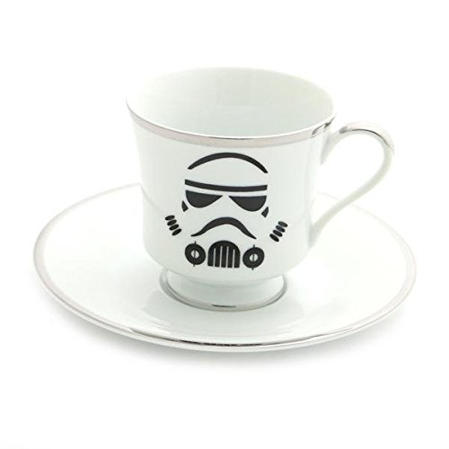 Limited Edition Storm Trooper Teacup and Saucer with Silver Rim
