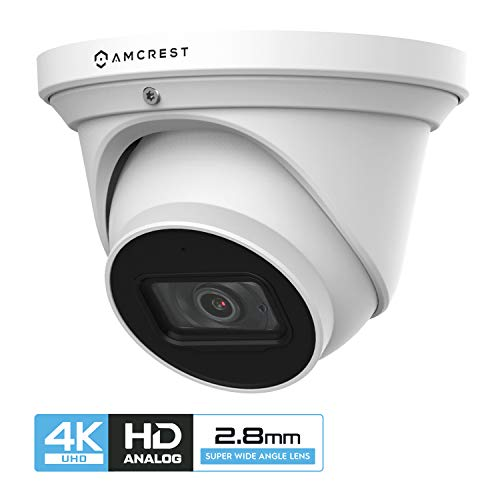 Amcrest UltraHD 4K Dome Outdoor Security Camera, 4K (8-Megapixel), Analog Camera, 164ft Night Vision, IP67 Weatherproof Housing, 2.8mm Lens 110° Wide Angle, Built-in Microphone, White (AMC4KDM28-W)
