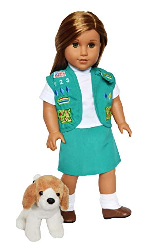 DollsHobbiesNmore Junior Girl Scouts Outfit with Kingdom Kuddles Plush Beagle for 18 Inch Girl Dolls- American Scouts