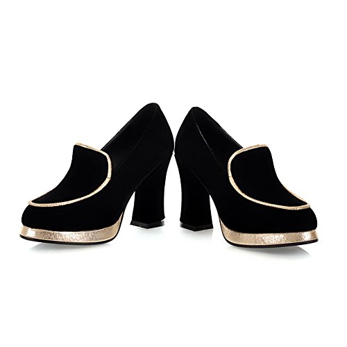 VogueZone009 Females Round Closed Toe Microfibre PU Frosted High Heels Solid Pump Shoe with Metalornament Black gDJribgF