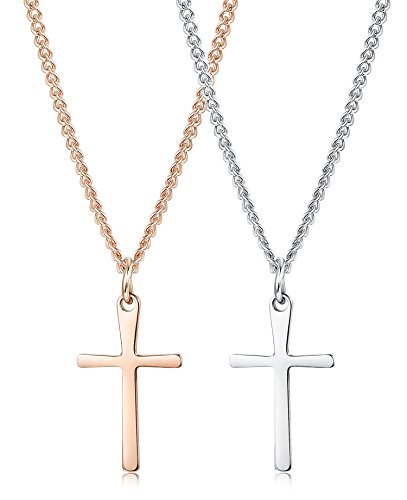 Jstyle 2Pcs Stainless Steel Tiny Cross Necklace for Women Grils Small Simple Crucifix Pendant Necklace Dainty Jewelry (Stylish Small Fashion Cross Pendant)