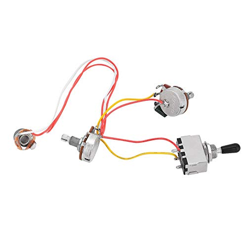 Guitar Wiring Harness, 3 Way Toggle Switch One Volume One Tone Jack for Electirc Guitar Bass