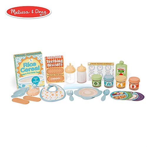 Melissa & Doug Mine to Love Mealtime Play Set (Doll Feeding Accessories, 24 Pieces)
