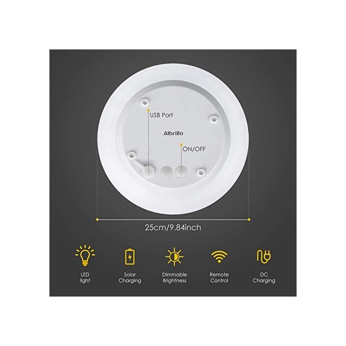 41Gq67msE5L ? 8 Colores Ajustables y 2 Modos de Iluminación - Albrillo luz solar exterior le ofrecen 8 colores diferentes de luz (blanco, rojo, verde, azul, amarillo, púrpura, cian, rosa) y 2 modos de iluminación (modo gradiente y modo flash). Puede elegir su color favorito y el modo más adecuado en diferentes entornos de aplicación. Además, el brillo y la velocidad del cambio de la luz también se pueden cambiar según su gusto ? Impermeable IP68 - Gracias a su clasificación de impermeabilidad IP68, puede colocar esta luz solar de bola en cualquier lugar al aire libre como jardín, patio o césped. Incluso si llueve, no tiene que preocuparse por afectar sus componentes electrónicos internos. Por eso, también se puede usar como una hermosa decoración en la piscina ? Bajo Consumo y Respetuoso del Medio Ambiente - Esta LED luz solar exterior se puede cargar con energía solar durante el día mientra que usar USB para cargar en días lluviosos. No solo eso, la lámpara exterior apaga cuando hay luz suficiente