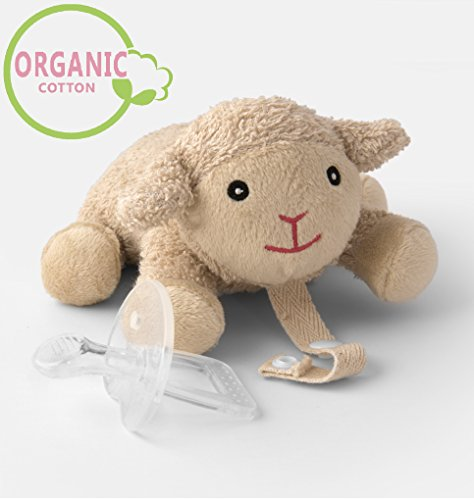 Organic Pacifier Holder- Orthodontic Baby Pacifier with Animal & Microwaveable Soothie & Natural Teether & Pacifier Clip - PureLittle Sheep: Natural Pacifier Stuffed Animal Paci Plushies Binky Buddy