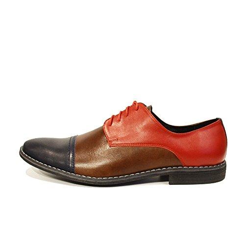 PeppeShoes Modello Rocco - Cuero Italiano Hecho A Mano Hombre Piel Vistoso Zapatos Vestir Oxfords - Cuero Cuero Suave - Encaje