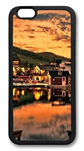 Beautiful Sunset Over The Lake TPU Silicone Case Cover for iphone 6 plus 5.5 inch Black