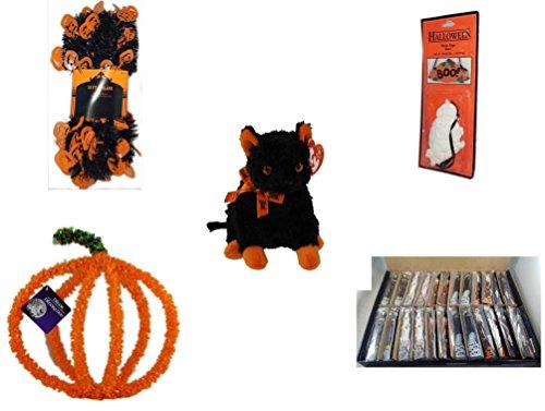 Halloween Fun Gift Bundle [5 Piece] - Halloween Black & Orange Pumpkin Garland 10 ft. - Halloween Resin Boo. Sign - Ty Beanie Baby Fraidy The Black & Orange Cat - Halloween Pumpkin Plastic on Wir]()