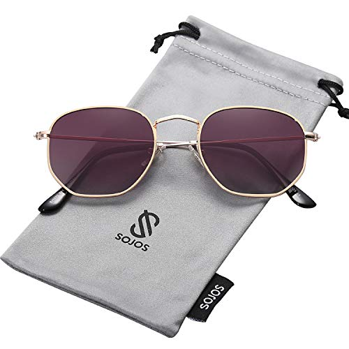 SOJOS Small Square Polarized Sunglasses for Men and Women Polygon Mirrored Lens SJ1072 with Gold Frame/Gradient Purple Polarized Lens