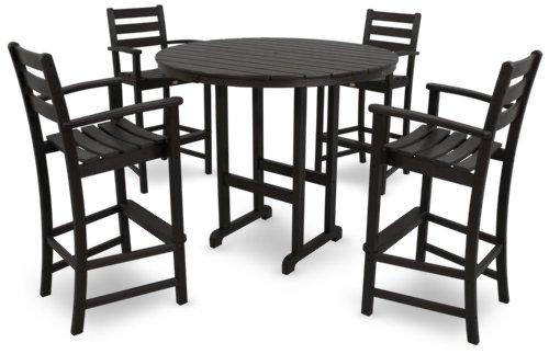 Trex Outdoor Furniture TXS119-1-CB Monterey Bay 5-Piece Bar Set, Charcoal Black ()