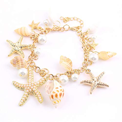 (Liobaba Pearl Chain Beach Bracelet,Adjustable Ocean Style Multi Starfish Sea Star Conch Shell Simulated-Pearl Chain Beach Bracelet Bangle)